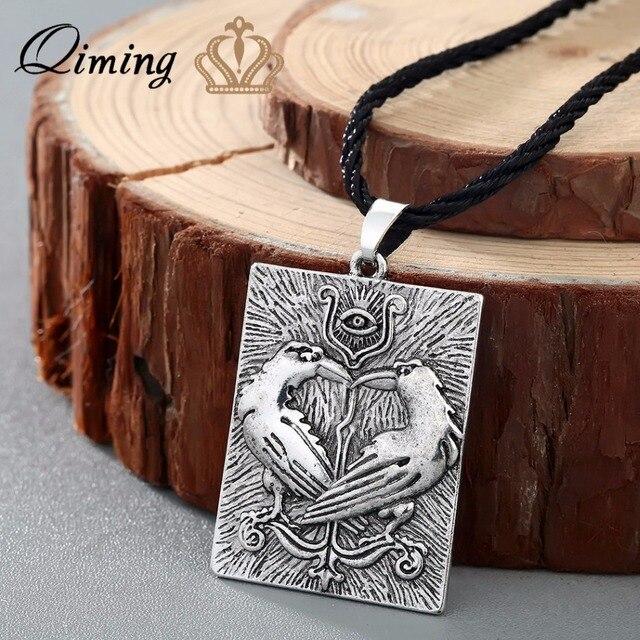 QIMING Valknut Norse Viking Necklace Women Bird Animal Pendant Odin Symbol Huginn Munin Raven Eye Punk Men Necklace