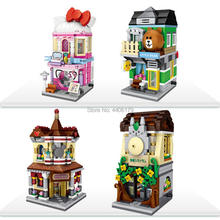 LegoINGlys city creators Street view Cosmetics little bear shop Japan Restaurant store micro diamond building blocks toys gift cosmetics shop ru