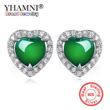 YHAMNI 100% Natural Green Malay Stone Earrings Original Solid 925 Sterling Silver Earrings CZ Zircon Jewelry For Women ZE450(China)