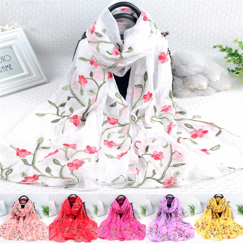 Elegant Women Long Embroidery   Scarf     Wrap   Ladies Shawl Silk   Scarves   Shawls and   Wraps   Ladies Fashion   Scarf