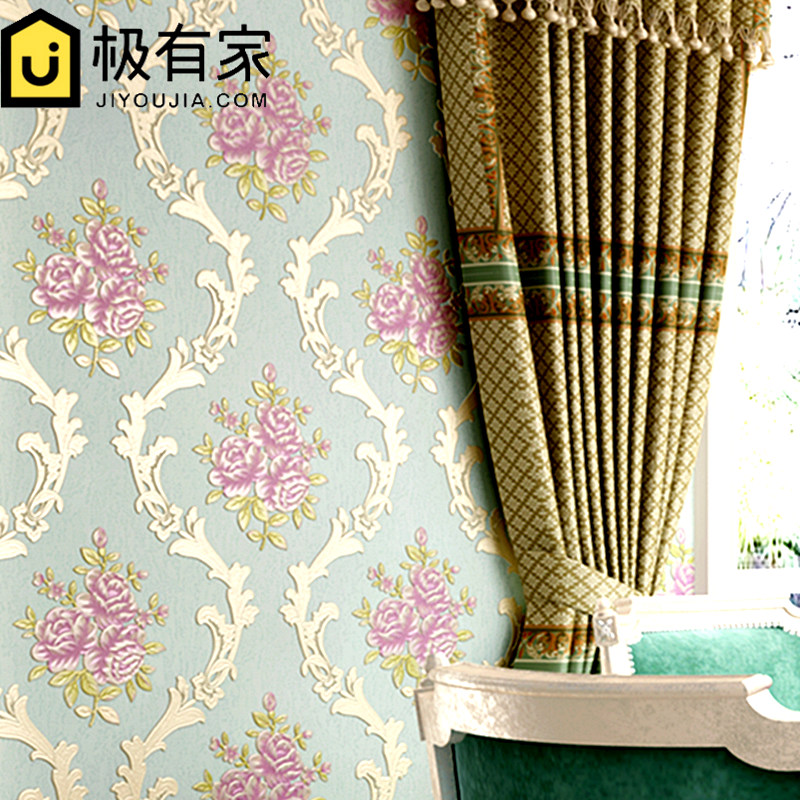 Pastoral wallpaper 3d flower pattern wallpaper European style living room bedroom TV background  non-woven wallpaper american country leaf branch flower pastoral non woven wallpaper bedroom living room 3d stereoscopic background wallpaper mural