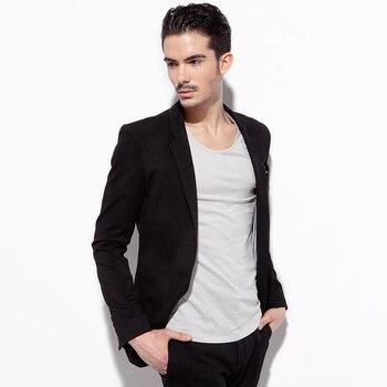 BASIQUE high quality 2015 spring autumn men formal suit jacket black deep grey slim fashion blazers Double slit single button XS