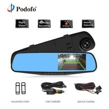 Podofo Dual Lens Car Dvr font b Camera b font 4 3 Inch Rear View Mirror