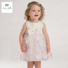 DB3577 дэйв белла лето девочка платье принцессы ребенка сирень weddingl платье рождения детей одежда платье девушки Лолита платье