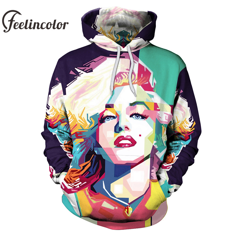 968ed396383f Feelincolor 3d Hoodies Marilyn Monroe Sweatshirt Men Women Comfortable  Outwear Personality Casual Men Women Streetwear