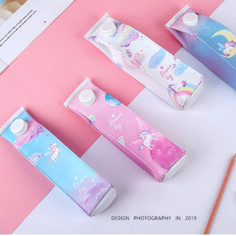 Dawegama Unicorn Milk Bottle Pencil Case Cute Duck PU Pen Bag Box Storage Pouch School Supplies Stationery Gift For Girls Boys