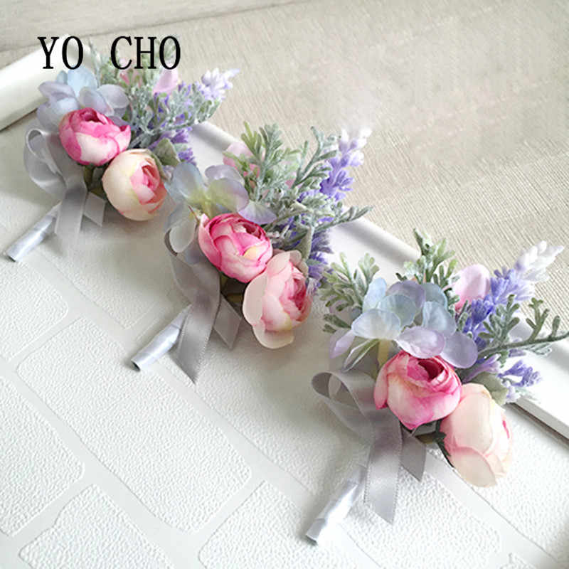 Yo Cho Groom Boutonniere Pengantin Pergelangan Tangan Corsage Bunga Tangan Saudara Pengiring Pernikahan Bunga Dekorasi Pesta Anggrek Mawar Manis