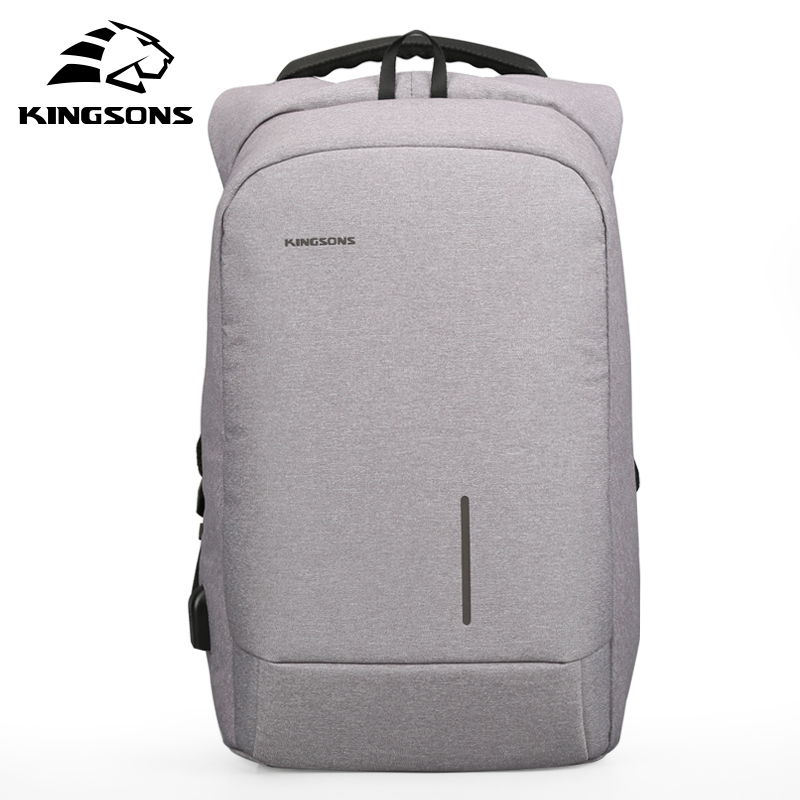 Kingsons 2017 New Arrival 15'' External USB Charging Laptop Backpacks School Backpack Bag Men Women Travel Bags KS3149W 2017 new masked rider laptop backpack bags cosplay animg kamen rider shoulders school student bag travel men and women backpacks
