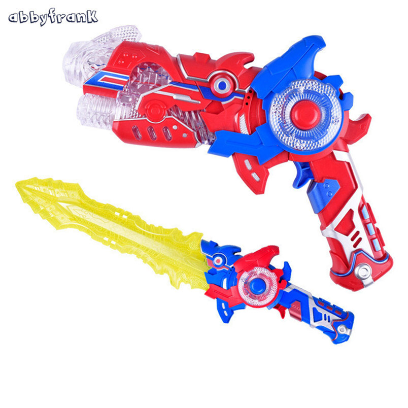 Abbyfrank 2 In 1 Gun And Sword Outdoor Interactive Game Toys Deformation Simulation Flashing Musical Gun Srma De Brinquedo