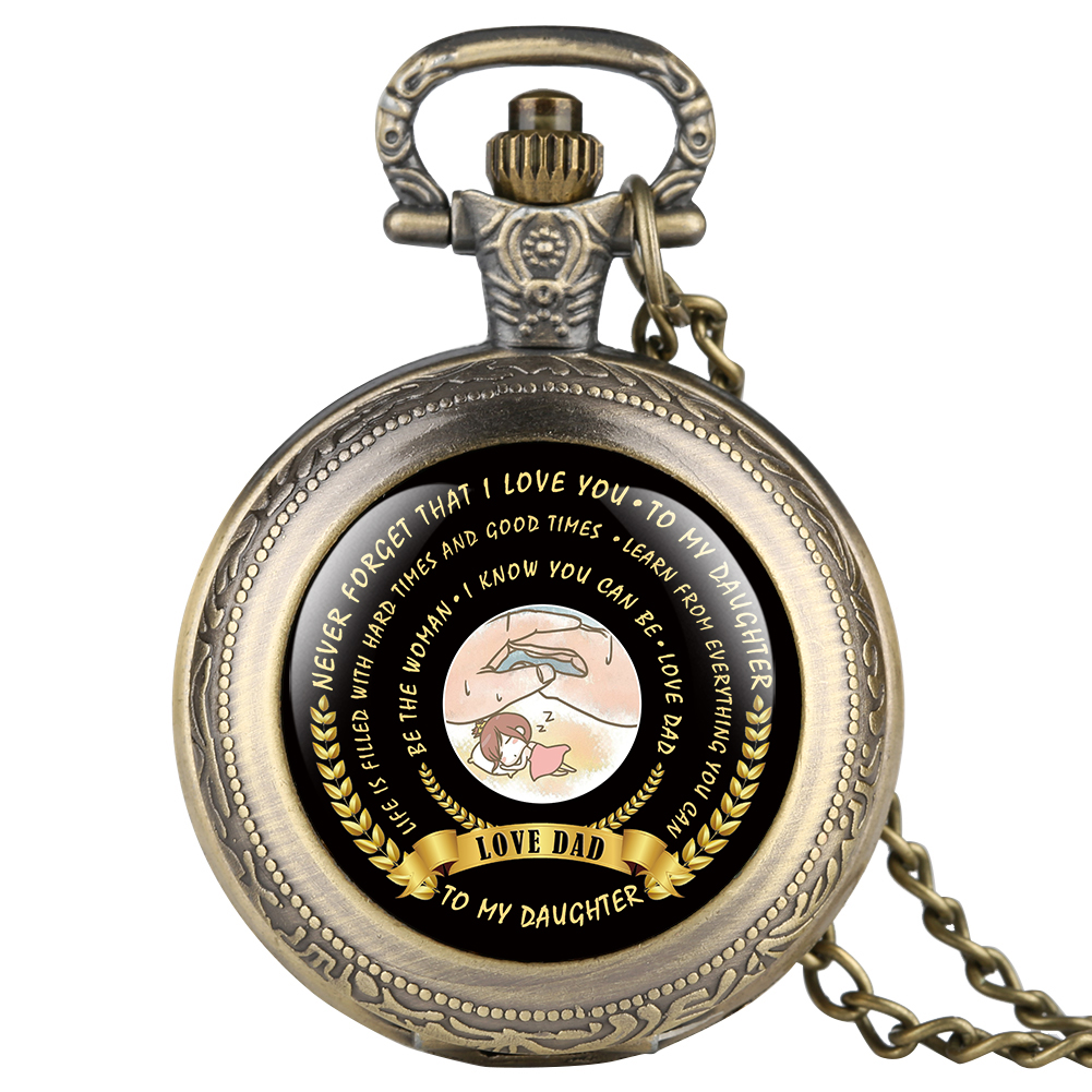 Stylish Quartz Pocket Watch For Girl To My Daughter Series Pocket Watches For Daughter Alloy Full Cover Pendant Watch Link Chain
