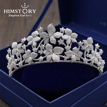 Luxurious Micro Inlays Zircon Tiara Crown Cubic Zirconia Flower Headband Hair Ornament Wedding Brides Headpiece Princess Coronet