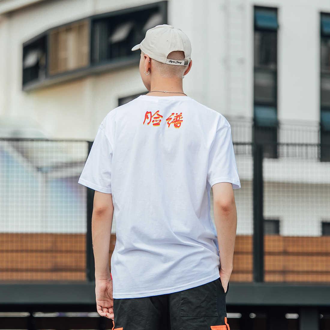 Aelfric Eden 2019 Chinese Stijl Peking Opera Gezichtsmasker Brief Afdrukken T-shirt Mannen Hip Hop Swag Harajuku Streetwear Casual T shirt