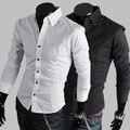 Summer Spring Autumn 2015 New Fashion Men Clothes Polka Dot Slim Fit Men Long Sleeve Shirt Men Casual Wedding Men Shirt  m-2xl