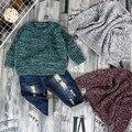 2016 Nueva Caliente de La Manera del Invierno de La Muchacha del Algodón de Punto de Lana Suéter Copo de nieve tamaño de la selección