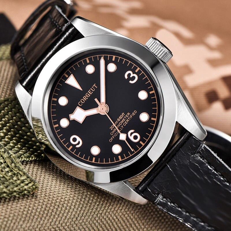 Corgeut 41 мм Для мужчин автоматические часы сапфир Стекло военные Bay механические наручные часы Miyota 8215 двигаться Для мужчин t Водонепроницаемый...