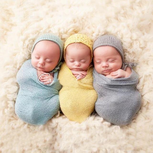 Stretch knit wraps mohair newborn photography props baby boy infant blanket unisex cotton soft photo wrap