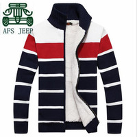 AFS JEEP Wide Striped Winter Man's Brand Cardigan Wool Inner Keep Warmly Sweater,Wholesale Man's Patchwork Knitted Thick Sweater