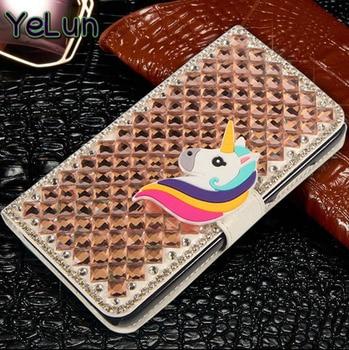 YeLun For Nokia 1 2 3 5 6 7 8 9 7 Plus Lumia 6 2018 Case Bling Diamond Bowknot Unicorn Rhinestone Filp PU Leather Phone Cover