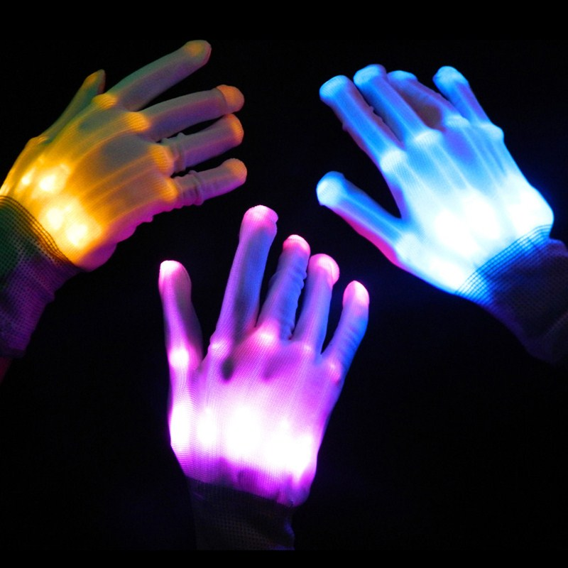 Colorful LED Flashing Gloves Finger Glow Flash Novelty Toys For Kids Adult Festive Christmas Halloween Party Gift Light Toys