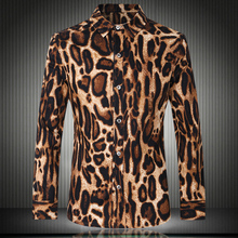 2017 new shelves, fashion men's casual long-sleeved leopard shirt, the trend of men's wild sexy shirt, nightclub men's shirt
