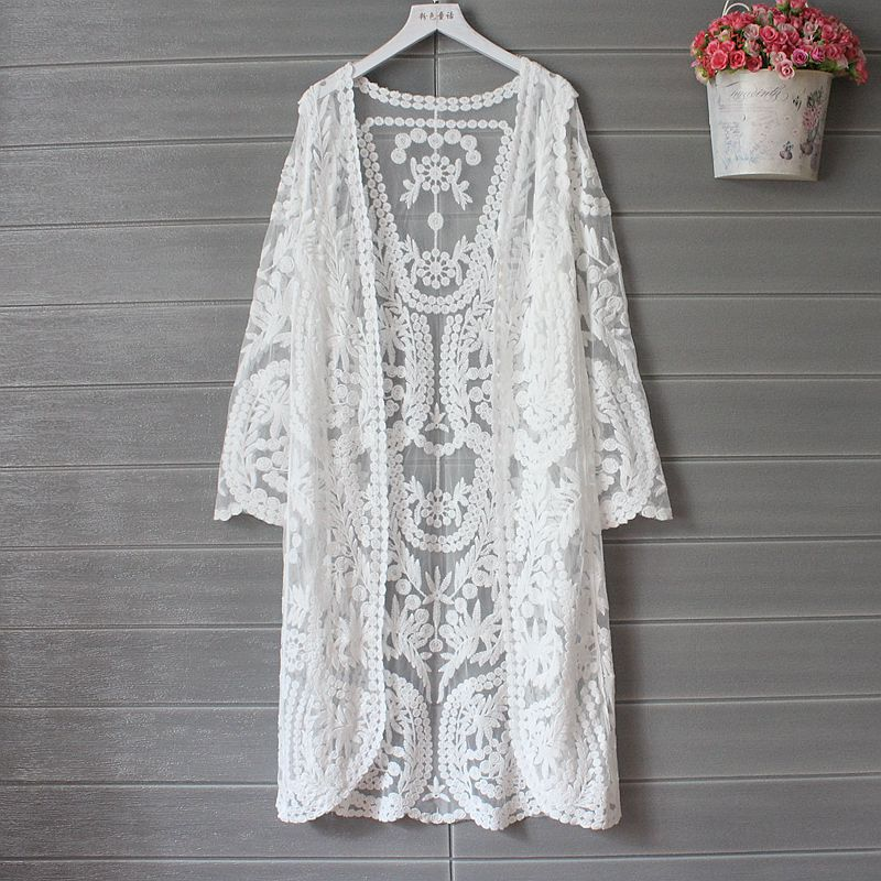 Womens Summer Knitting Blouse White Cardigan Sun Protection Clothing Long Blouse Beach White Female Fashion Tops