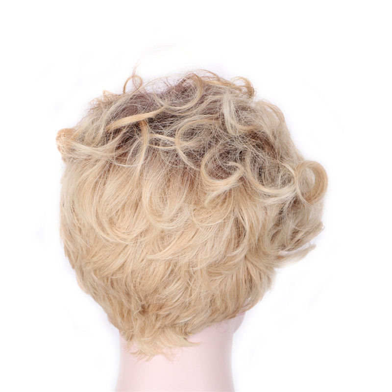 WoodFestival Women Mix Color Curly Synthetic Wig heat resistant Short Cosplay Wigs in Synthetic None Lace Wigs from Hair Extensions Wigs