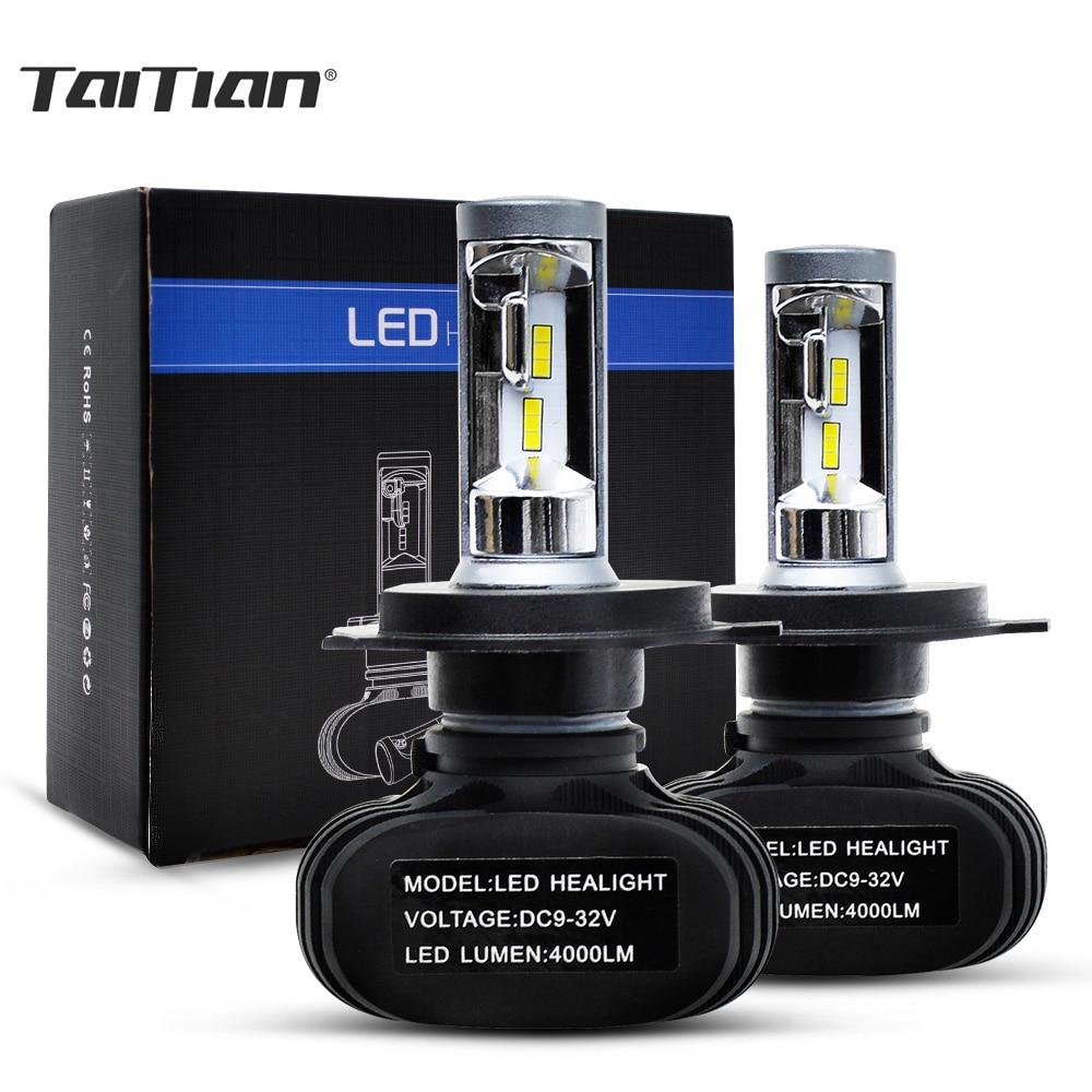 Taitian 2Pcs 50W 8000LM CSP 6500K 12V 24V kit Hi Lo led bulb socket Super White H4 headlight plug for Hyundai Mazda lada 2109