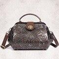 New Arrival Women Genuine Leather Messenger Bag Vintage Trend Crossbody Shoulder Casual Travel Bag Female Embossed Tote Handbag