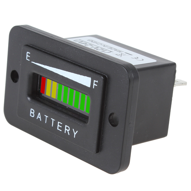 Brand New 12/24V 36V 48V Three-color 10-Bar LED Battery Indicator Meter Charge Indicator With Keyswitch Display Enable Option