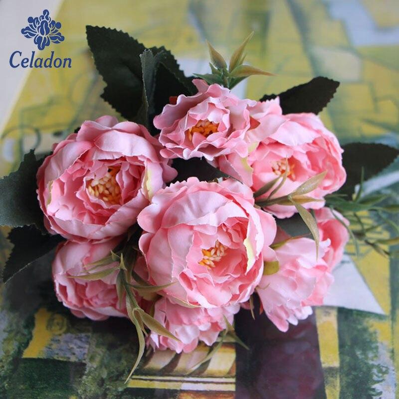1 Bouquet 28 Cm Europäischen Ziemlich Hochzeit Mini Pfingstrose Künstliche Silk Blumenstrauß Flores Braut Dekoration Phantasie Farben