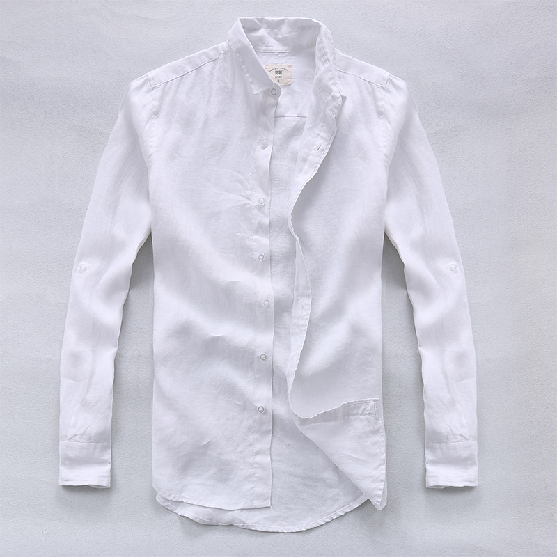 캐주얼 하와이 셔츠 남성 리넨 디자이너 브랜드 슬림 남성 셔츠 긴 소매 흰색 셔츠 남성 의류 봄 camisa masculina