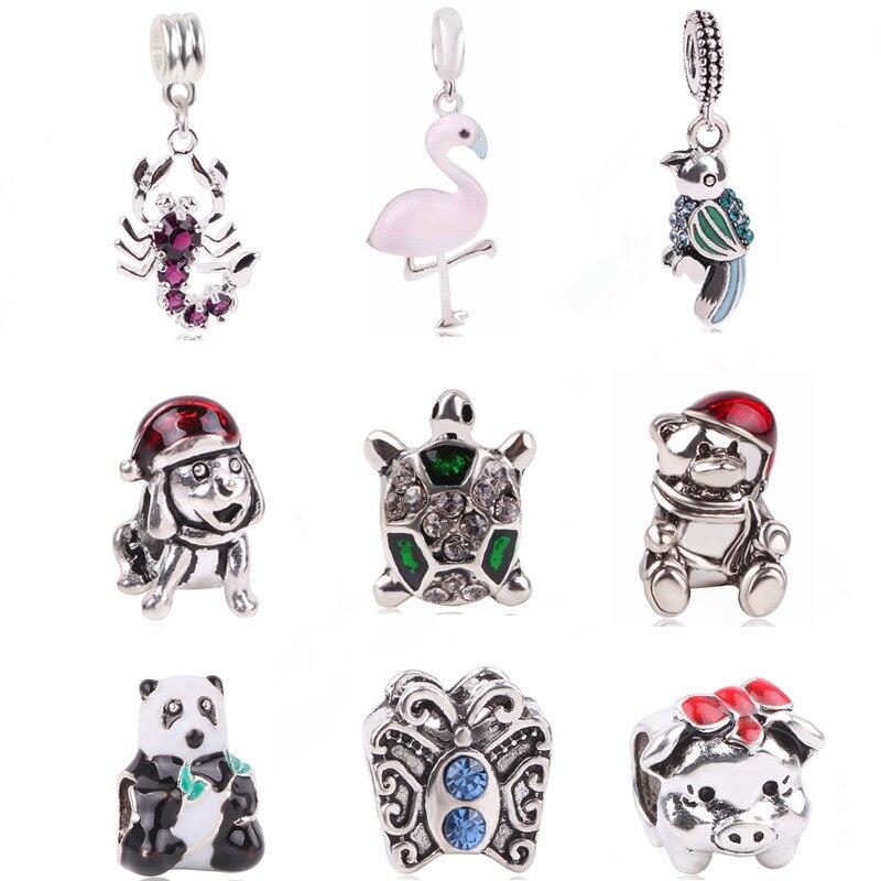 Ranqin Original Fashion European Scorpion Pendant Cute Bear Puppy Beads Animal Series Fit Pandora Charms Bracelets DIY Jewerly