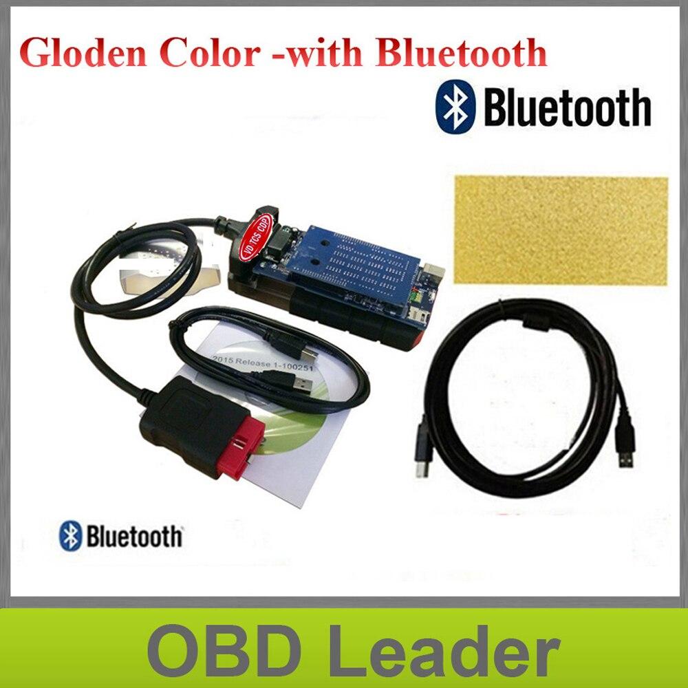 Prix pour Or couleur 2015.3 avec keygen vd tcs cdp nouvelle vci Bluetooth tcs cdp pro pour voitures/camions obd2 outil de diagnostic cdp Livraison Gratuite