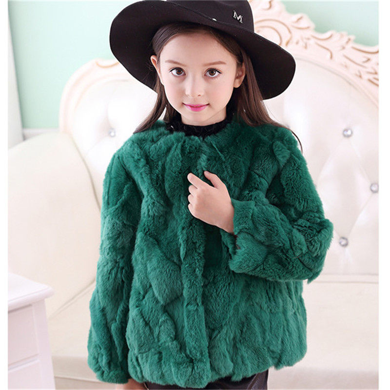 2017 Children's Real Rabbit Fur Coat Autumn Winter Girls Warm Thick Short Section Full Solid Kids O-Neck Outerwear Clothing C#22 2017 winter new clothes to overcome the coat of women in the long reed rabbit hair fur fur coat fox raccoon fur collar