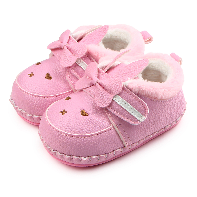 Winter New Arrival Leather Rabbit Butterfly-knot TPR Sole Plus Velvet Baby Infant Girl Shoes 0-15 Months