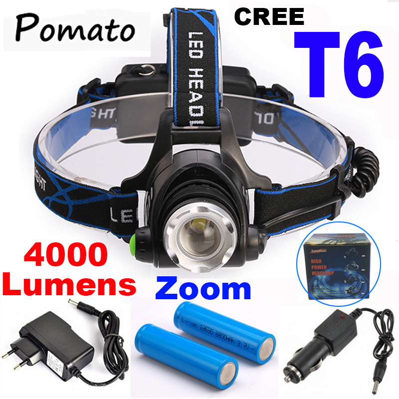 CREE XM-L T6 4000LM LED Headlamp Headlight 18650 flashlight head light lamp +2x18650 Battery+car charger+ EU/US charger 2 in 1 uniquefire 3 x cree xm l t6 led 3 mode bicycle bike light 4000 lumen headlight headlamp head lamp