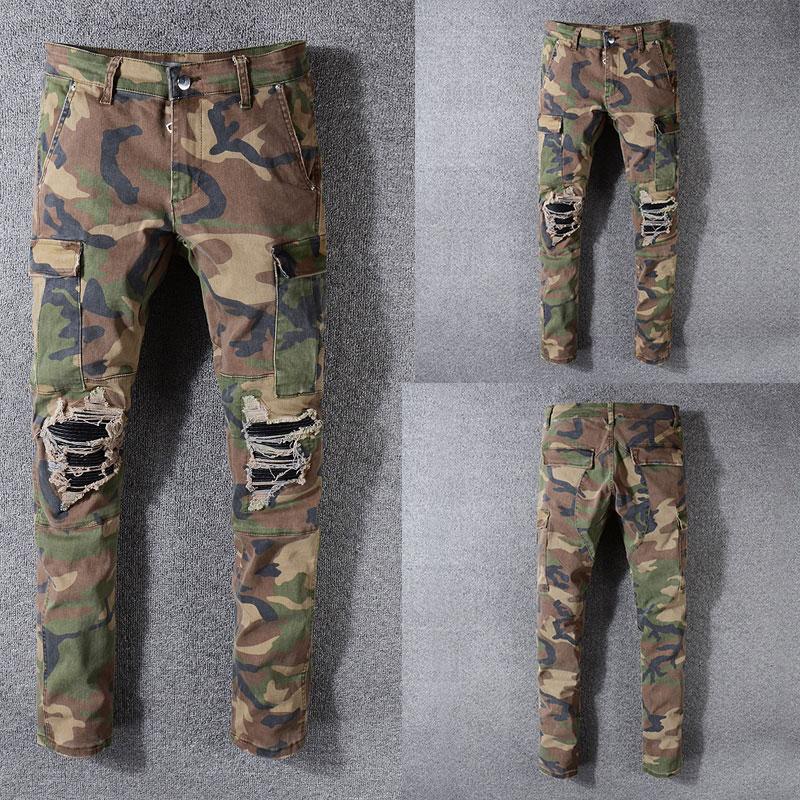 Italian Style New Men Jeans,Army Green Camouflage Patchwork Casual Pants Slim Fit Brand Streetwear Stretch Biker Jeans Men