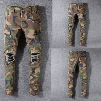 Italian Style New Men Jeans,Army green camouflage Patchwork Casual Pants Slim Fit Brand Streetwear Stretch Biker Jeans Men 2019 new style new men jeans blue color high quality patchwork casual pants slim fit brand streetwear stretch biker jeans men