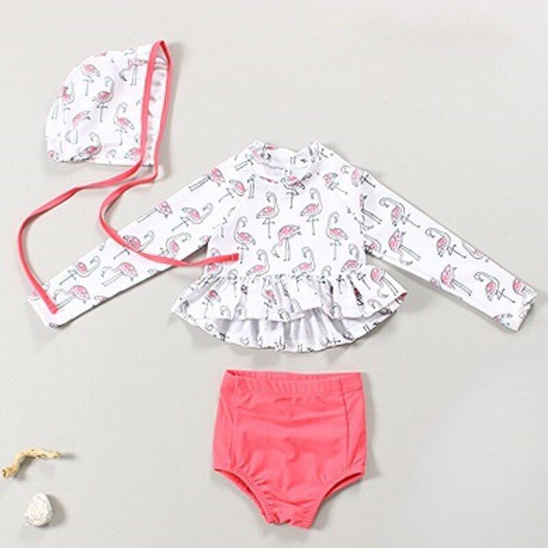 ad6cece6e16aa Two Pieces Swimwear Baby Girls Swimsuits summer swimsuit Bathing suit  Beachwear Long Sleeve Kids Swimming Wear