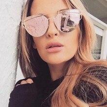 2019 Hot Sale Mirror Flat Lens Women Cat Eye Sunglasses Classic Brand Designer Twin-Beams Rose Gold Frame Sun Glasses for Women rtbofy 2017 new cat eye sunglasses women brand designer fashion twin beams mirror cateye sun glasses for female uv400 8877