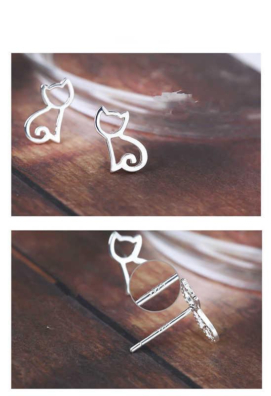 أقراط عالية الجودة من الفضة الإسترليني عيار 100% عيار 925 أقراط على شكل قط ظريفة مناسبة كهدية للنساء والفتيات مصنوعة من الفضة الإسترليني مجوهرات