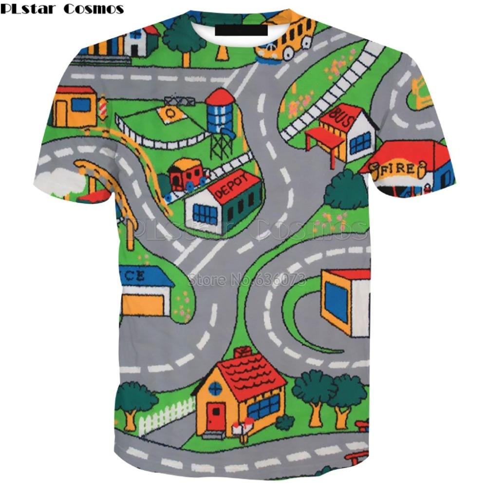 PLstar Cosmos envío de la gota 2018 verano nueva moda hombres camiseta juguete carreteras historieta 3D impresión casual Cool t camisas ad-28
