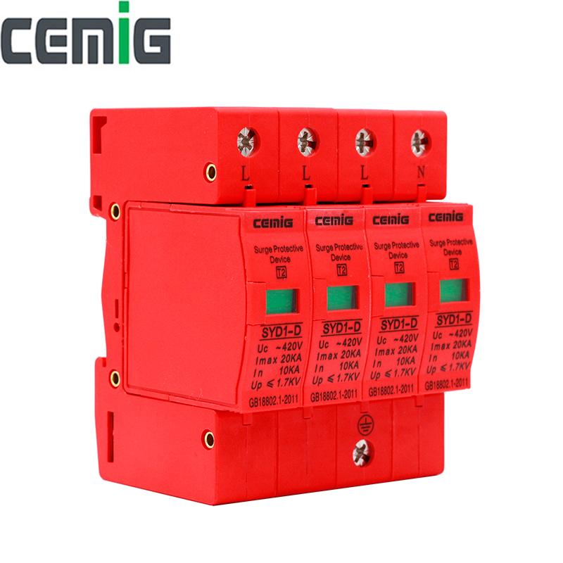Cemig SYD1-D Surge Protector Device SPD 4P AC420V 20kA Low-voltage Arrester Device Lightning Protection