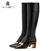 Prova Perfetto black square toe strange heel knee high boots women metal decoration knight boots females ankle boots large size