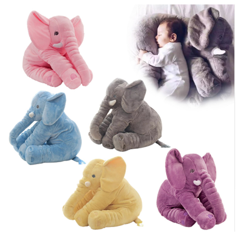 New 40cm 60cm Large Plush Elephant Doll Toy Kids Sleeping Stuffed Pillow Elephant Doll Baby Doll Birthday Gift For Kids peek a boo elephant plush toy blue ears electronic elephant toy play hide and seek baby kids soft doll birthday gift for child