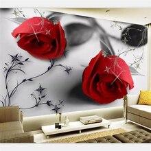 beibehang Wallpaper custom large high-end modern black and white rose pattern TV