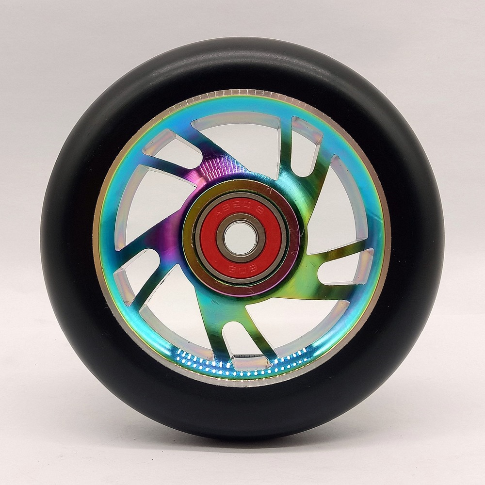 2PCS 100mm Freestyle Stunt Scooter Wheels 88A With High elastic PU Colorful Aluminum Alloy Hub ABEC