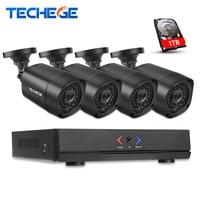 Techege 4CH CCTV NVR System POE NVR 1080P Video Output 4PCS 2 0MP 1080P Waterproof Night
