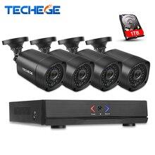 Techege 4CH CCTV NVR System POE NVR 1080 P Video-ausgang 4 STÜCKE 2.0MP 1080 P Wasserdichte Nachtsicht CCTV IP Kamera Sicherheit System