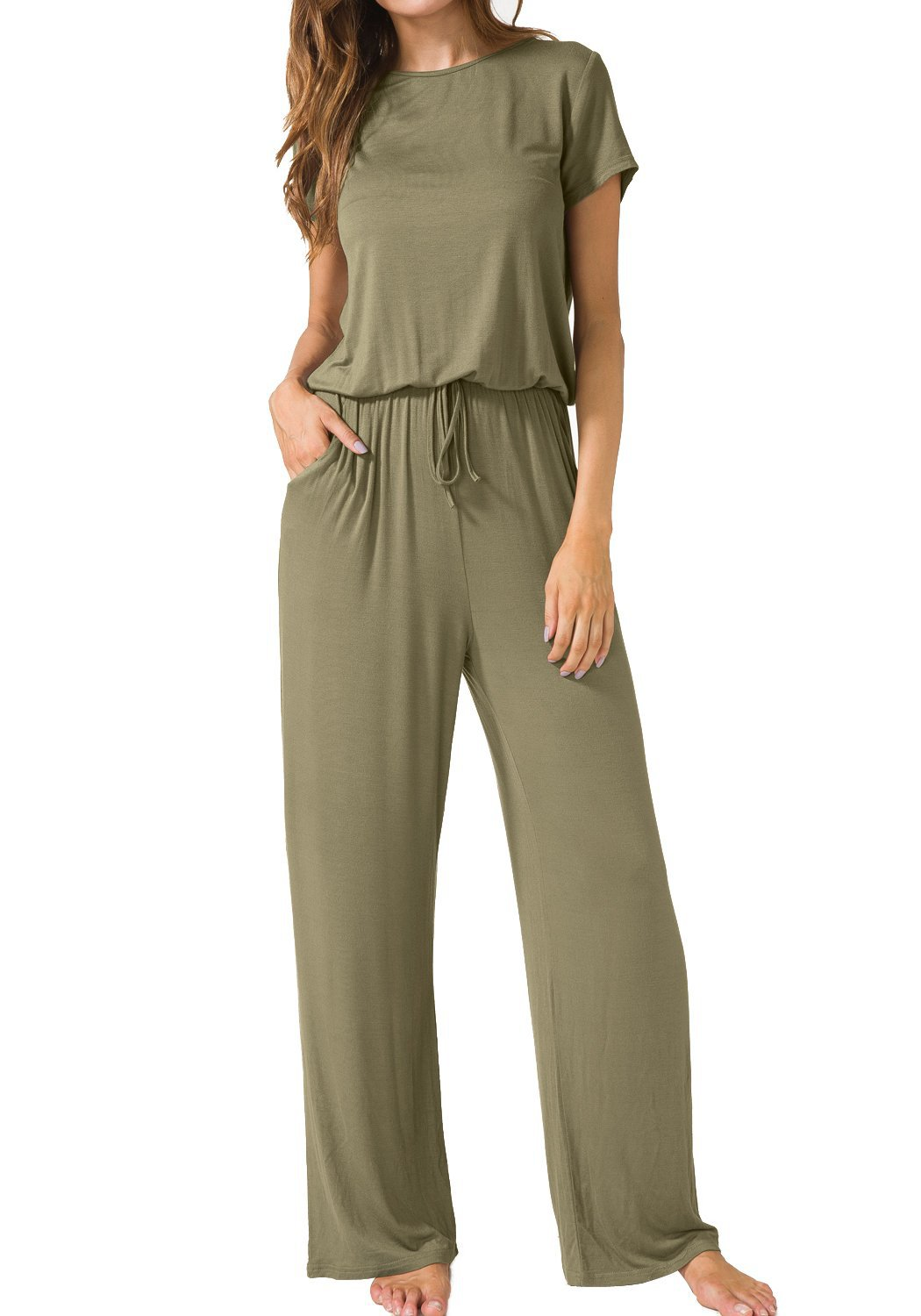 Wontive hot sale Women's Short Sleeve Loose Wide Legs Casual   Jumpsuits   with Pockets